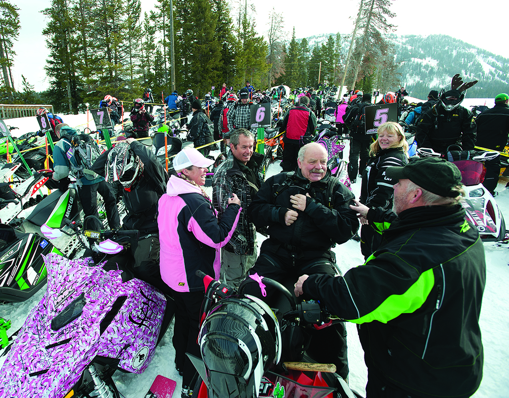 Held annually by the Pink Ribbon Riders, the Wyoming Snow Run (March 18-19, 2016) raises money for breast cancer patients. Photograph by Price Chambers