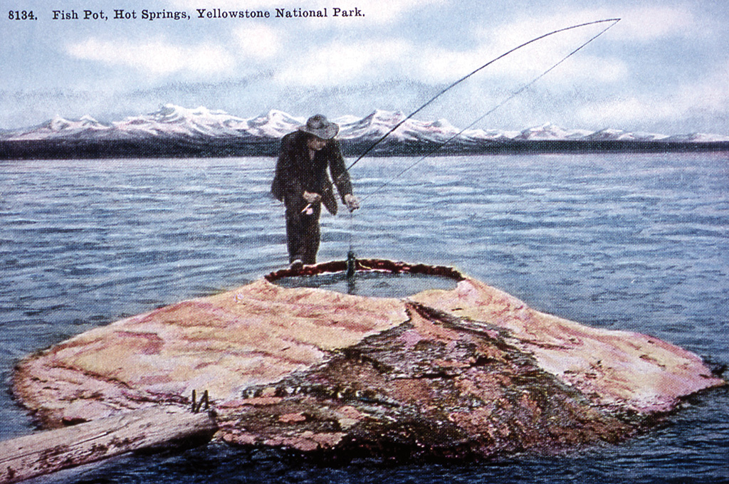 A man dips a trout into the famous Fishing Cone thermal feature on Yellowstone Lake in a postcard from the late 1800s. The practice, long since banned, is representative of the loose and flippant attitudes shown toward preservation, even after the National Park Service was founded in 1916.