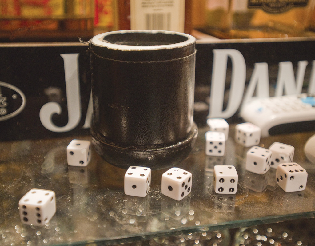 Someone used this cup and six of these dice to win $12,888 in the shake-a-day at Eleanor's Again.
