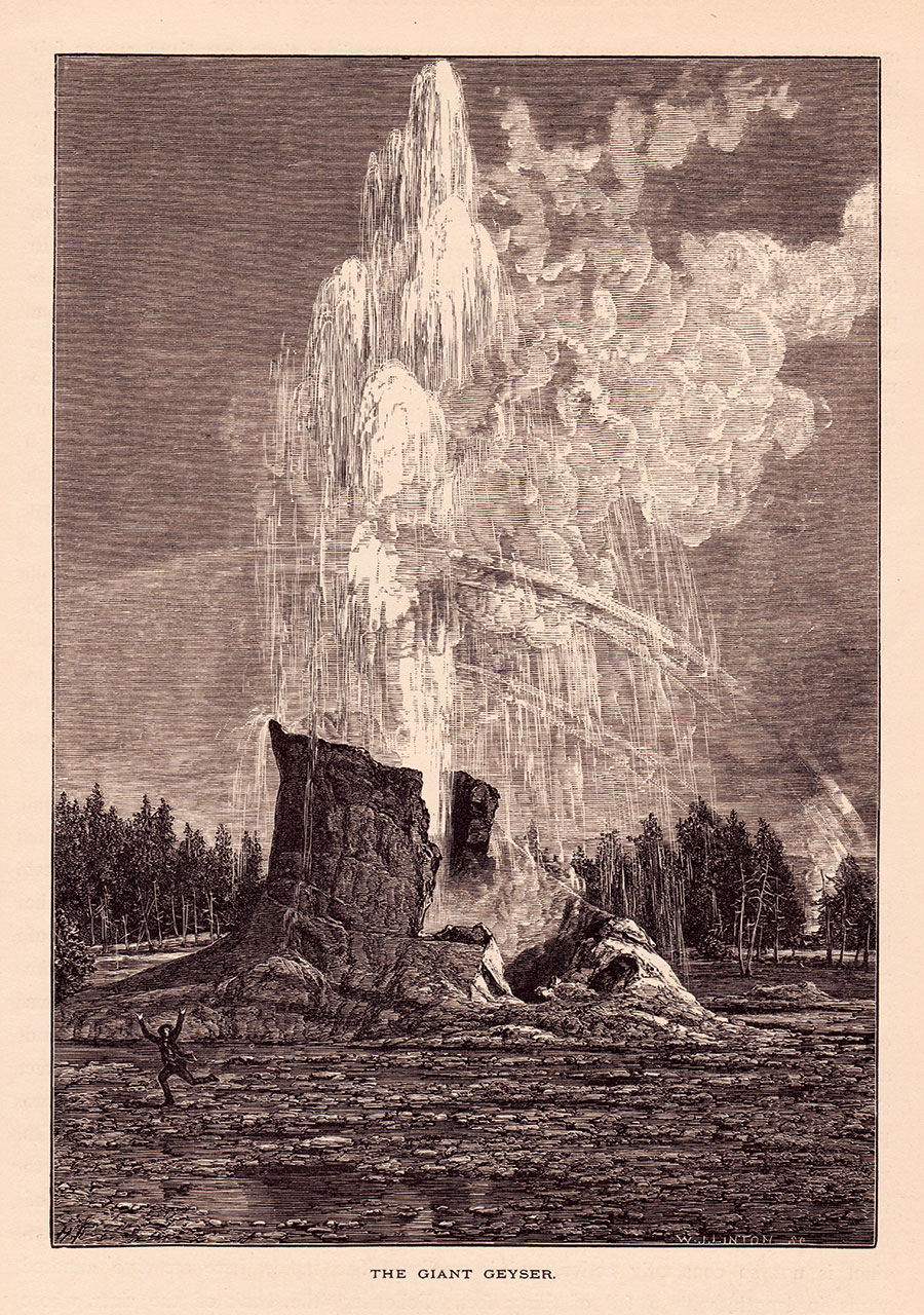 While illustrators such as Henry Fenn made great efforts to preserve detail when reproducing photography, they also took liberties, the results of which were sometimes comical. Here, Fenn inserted a figure fleeing an erupting Giant Geyser, the cone of which appears to be much larger than its actual height of about twelve feet. Unlike Moran, Fenn had not visited Yellowstone at the time he was reproducing Jackson's photographs and therefore did not have firsthand experience with the environment.
