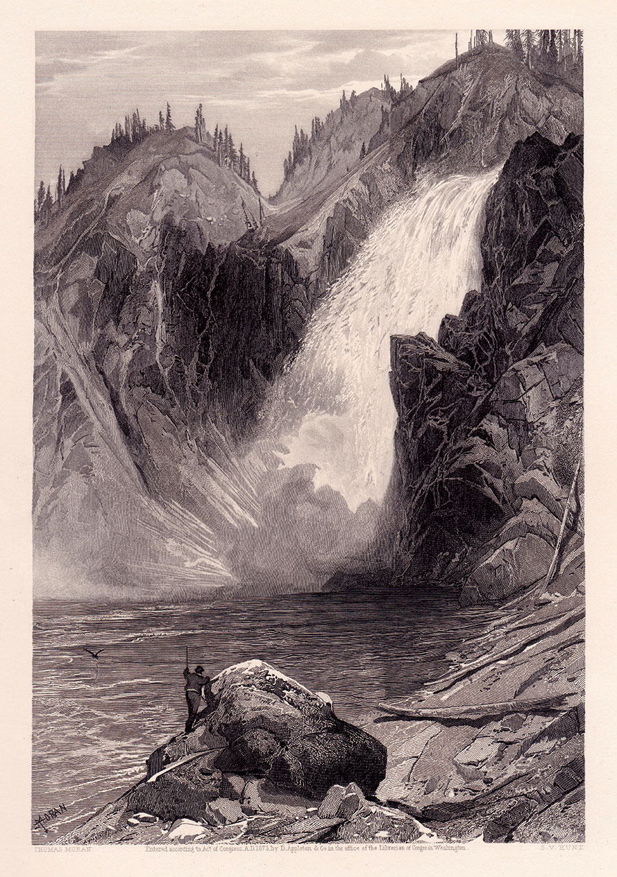 The base of the Upper Falls of the Yellowstone River was not photographed in 1871. It is likely that artist Moran visited the location at the time and created this illustration from his sketches.