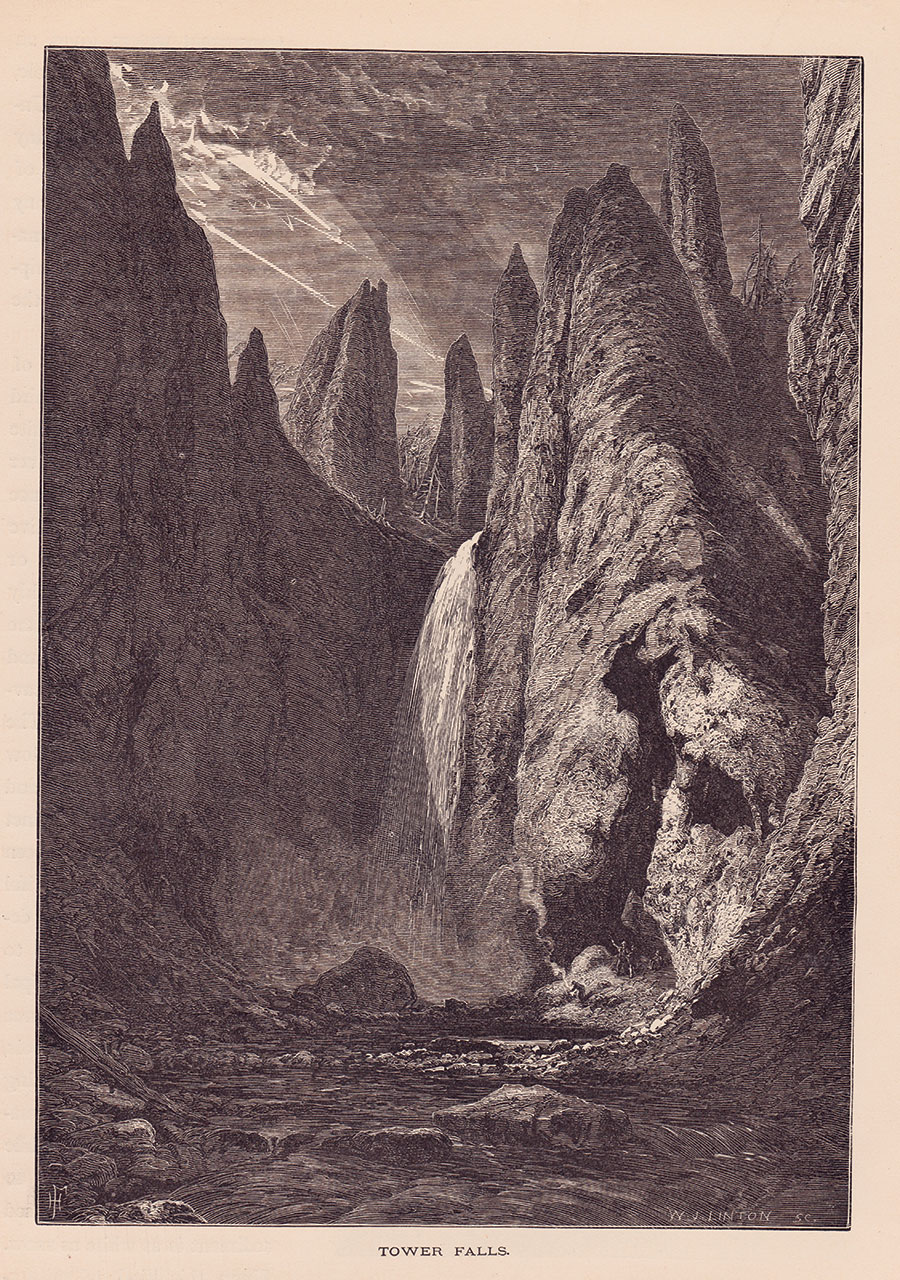 Thomas Moran's depiction of Tower Fall, formerly Tower Falls, closely resembles W.H. Jackson's photograph of the waterfall from its base. Moran added storm clouds and streaming light for dramatic effect.