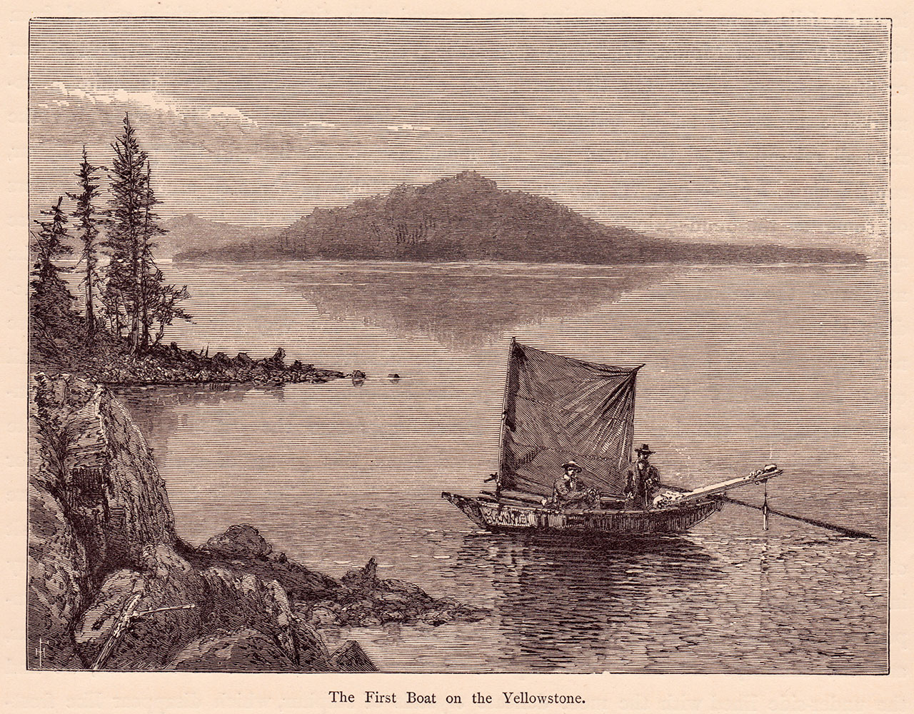 Moran's illustration of Anna, the first boat on Yellowstone Lake, is a composite of two 1871 W.H. Jackson photographs. Moran likely did this to give the viewer a sense of perspective of the largest body of water above 7,000 feet in the Lower 48 states.