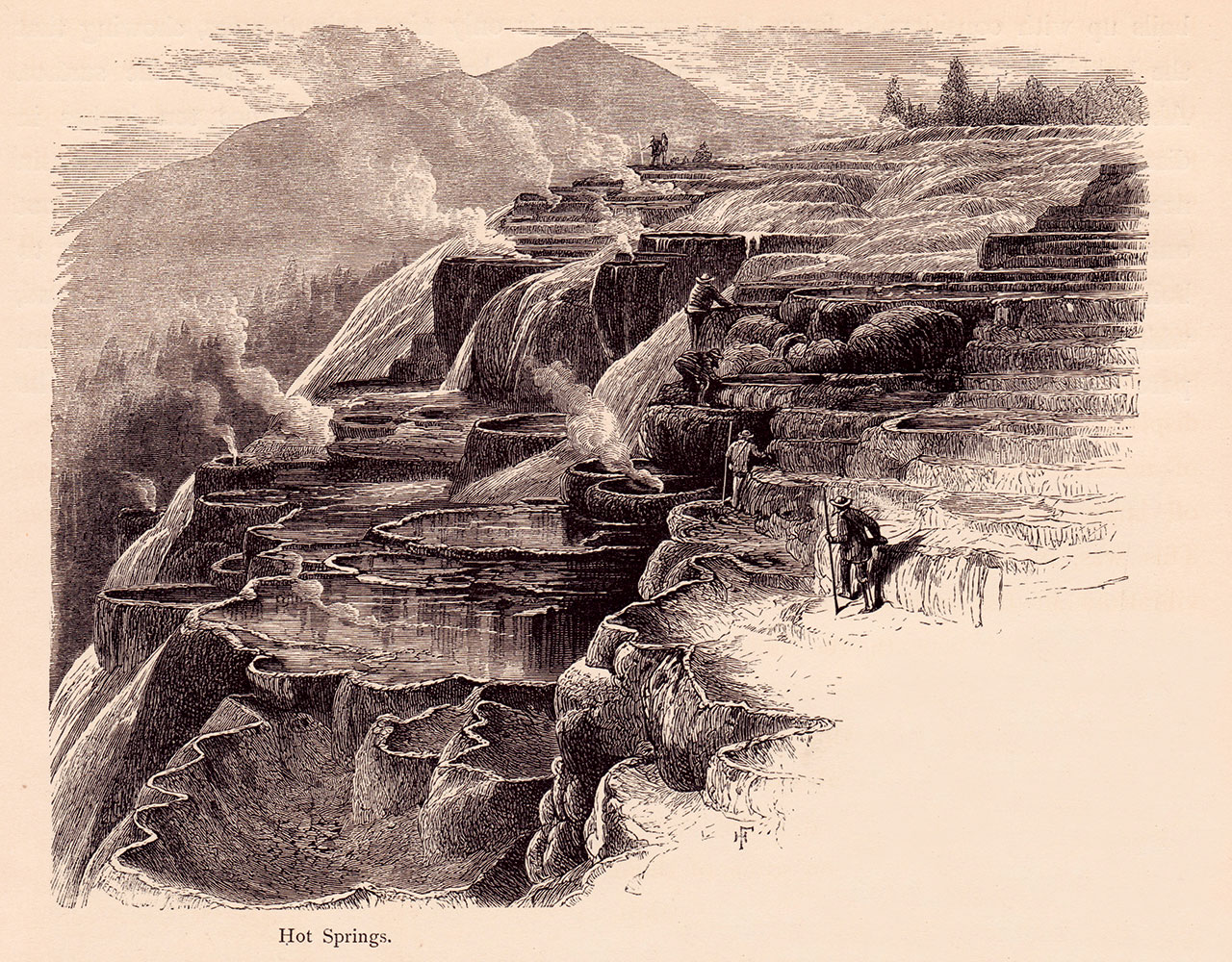 Moran took liberties with his illustration of figures exploring Jupiter Terrace at Mammoth Hot Springs. He often served as a subject in many of Jackson's 1871 photographs at Mammoth.