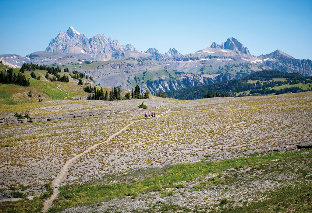 The Teton Crest Trail traverses the southern and middle sections of the range at an average altitude of 10,000 feet.