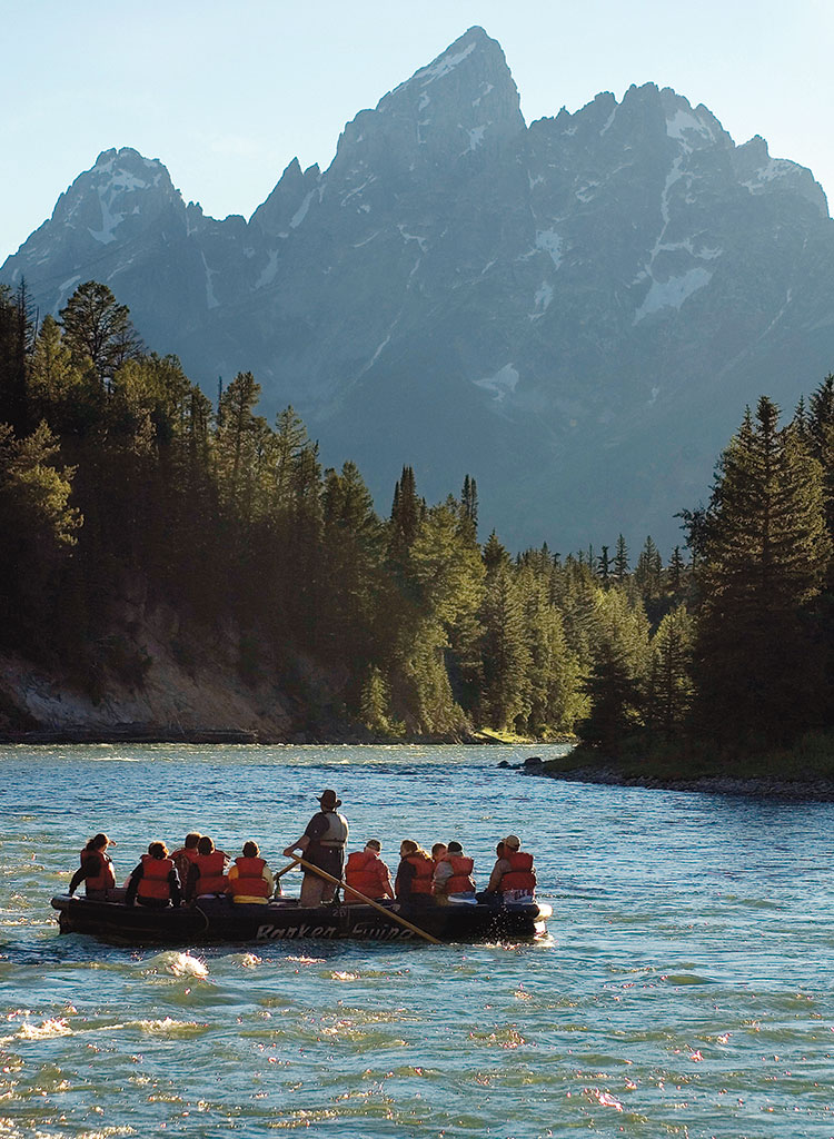 A scenic float on the Snake River offers unique views of the Teton Range and opportunities to spot wildlife.