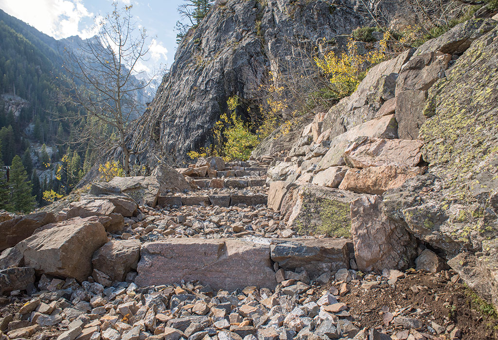 The popular and heavily used trail around Jenny Lake and to Inspiration Point is undergoing a major overhaul, which will be finished in 2017.