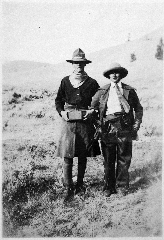 Edith Baily, right, in Jackson Hole in 1916. With Baily is Stanley Woodward, who, as a joke, traded clothes with her. Woodward went on to become the U.S. ambassador to Canada from 1950 to 1953.