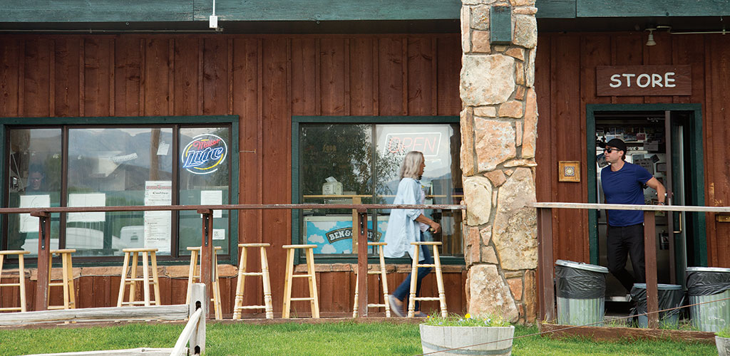 The Kelly on the Gros Ventre store in the small hamlet of Kelly in Grand Teton National Park offers lunch with a view of the Teton Range towering over Antelope Flats.