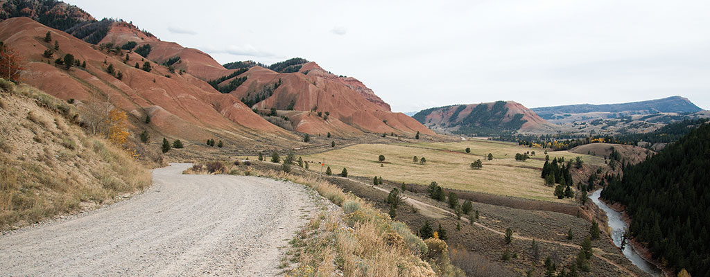 The Gros Ventre Road passes the Red Hills and often parallels the Gros Ventre River.