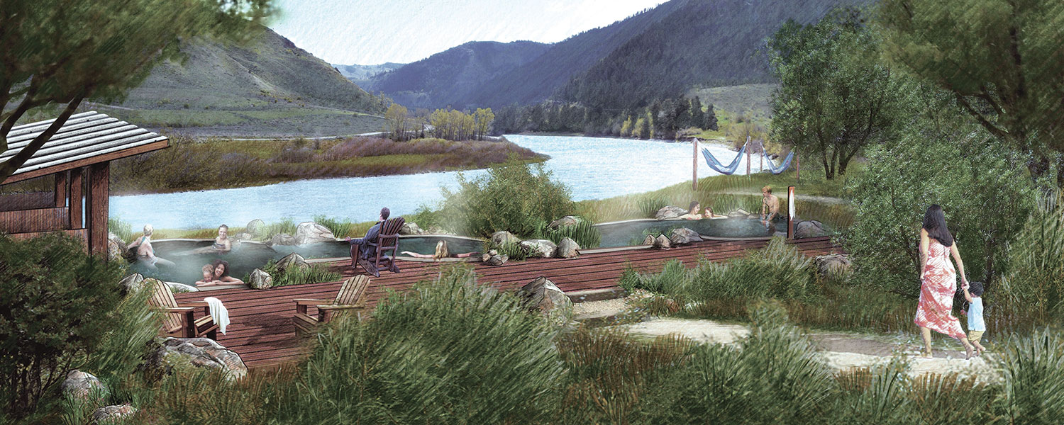An artist's rendering of the proposed Astoria Hot Springs bathing pools