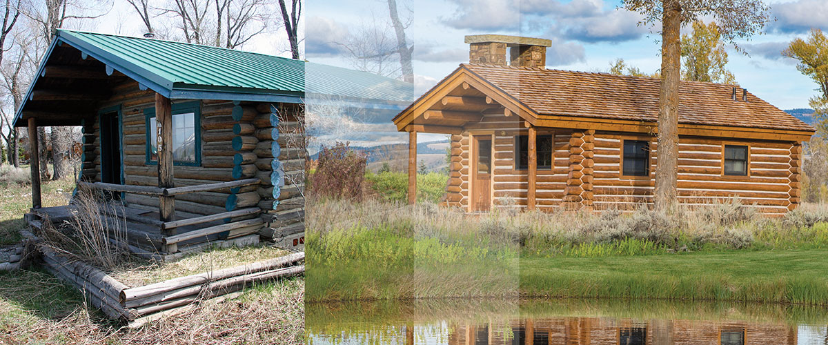 Remodeling A Historic Log Cabin Wind River Builders Kept The Existing Structure Refreshing