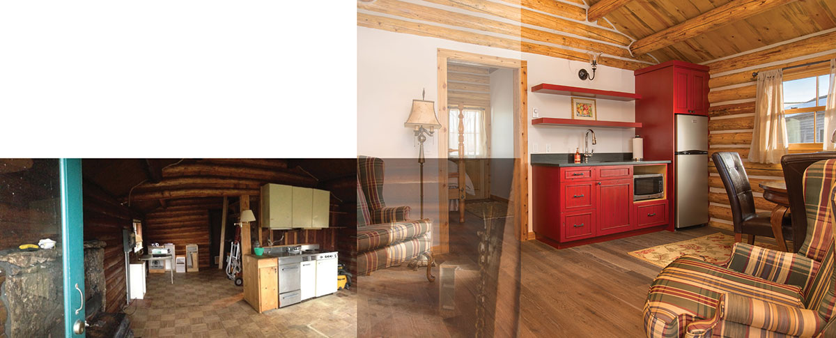 Wind River Builders owner Alex Romaine recommends focusing on materials and finishes when investing in remodeling a property. Shown above are the original and new kitchens in a log cabin the company remodeled.
