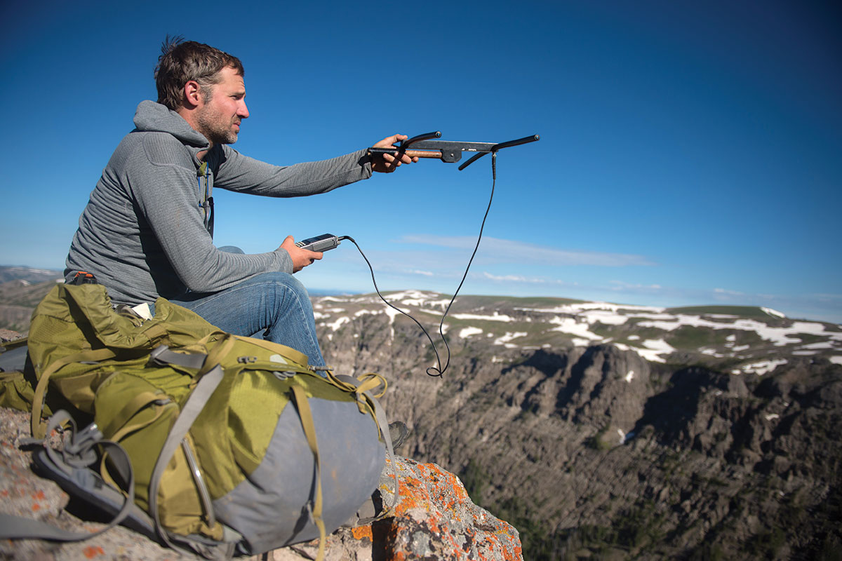 Wildlife ecologist Dr. Arthur Middleton, a professor at UC Berkeley, searches for radio-collared elk in summer range near Yellowstone National Park.